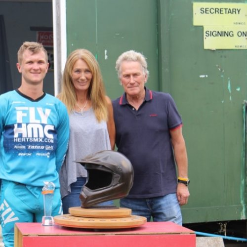 Shaun Southgate receiving the Richard Fitch Memorial Trophy from Gill and Chris Fitch